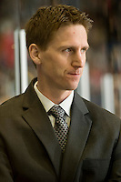 KELOWNA, CANADA, NOVEMBER 25: Kris Knoblauch, head coach of the Kootenay Ice stands on the bench as the Kootenay Ice visit the Kelowna Rockets  on November 25, 2011 at Prospera Place in Kelowna, British Columbia, Canada (Photo by Marissa Baecker/Shoot the Breeze) *** Local Caption *** Kris Knoblauch;