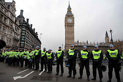 © Under license to London News Picures. Police line the streets of Westminster today (30/11/2010) during a third day of student protests against planned cuts to tuition fees. Photo credit should read: Fuat Akyuz/London News Pictures