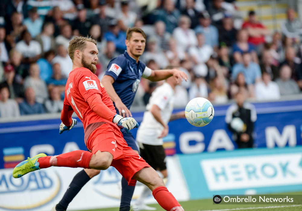 ÖREBRO, SWEDEN - AUGUST 01: Oscar Jansson goalkeeper of Örebro SK during the allsvenskan match between Örebro SK and Malmö FF at Behrn Arena on August 1, 2016 in Örebro, Sweden. Foto: Pavel Koubek/Ombrello