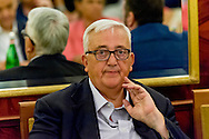 "Roma, Italy. 29th August 2015 --  Mario Borghezio, MEP of the Northern League. -- The ""Romans to Rome"" committee, organized by Northern League MEP Mario Borghezio, is an association who's primary goal is to ""clean up"" the most beautiful city in the world, Rome. They are collaborating with the police to reach their goal."