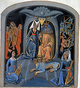 Pluto and Persephone (Proserpine) enthroned. God and goddess of the underworld, with the three-headed dog Cerberus at their feet. Females in foreground play Harp and Rebec. Men at rear left play harps. Rear right, figures are tortured by demons. 'Les Echecs amoureux' late 15th century manuscript produced for Louise of Savoy. Bibliotheque Nationale, Paris.