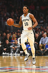 December 29, 2018 - Los Angeles, CA, U.S. - LOS ANGELES, CA - DECEMBER 29: San Antonio Spurs Guard DeMar DeRozan (10) brings the ball up the court during a NBA game between the San Antonio Spurs and the Los Angeles Clippers on December 29, 2018 at STAPLES Center in Los Angeles, CA. (Photo by Brian Rothmuller/Icon Sportswire) (Credit Image: © Brian Rothmuller/Icon SMI via ZUMA Press)