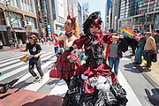 Transvestites march in The Rainbow Pride Event in Shibuya, Tokyo, Japan. Sunday, April 26th 2015. This is the forth annual celebration of LGBT issues in Tokyo and forms part of a wider Rainbow Week. About 5% of the Japanese population identify as homosexual and this event hopes to foster a society where they can live equally and without prejudice.