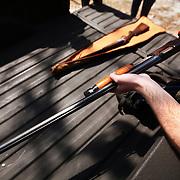 Shooting shotguns at skeet, Brunswick County, near Orton Plantation
