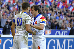 February 23, 2019 - Saint Denis, Seine Saint Denis, France - The Fly-Half of French Team ROMAIN NTAMACK and BAPTISTE SERIN in action during the Guinness Six Nations Rugby tournament between France and Scotland at the Stade de France - St Denis - France..France won 27-10 (Credit Image: © Pierre Stevenin/ZUMA Wire)