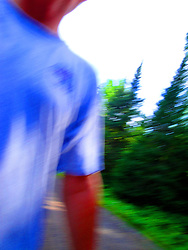 Abstract shot of me hiking made by swinging the camera.