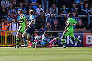 Forest Green Rovers goalkeeper Sam Russell(23) goes in bravely and is injured during the EFL Sky Bet League 2 match between Wycombe Wanderers and Forest Green Rovers at Adams Park, High Wycombe, England on 2 September 2017. Photo by Shane Healey.