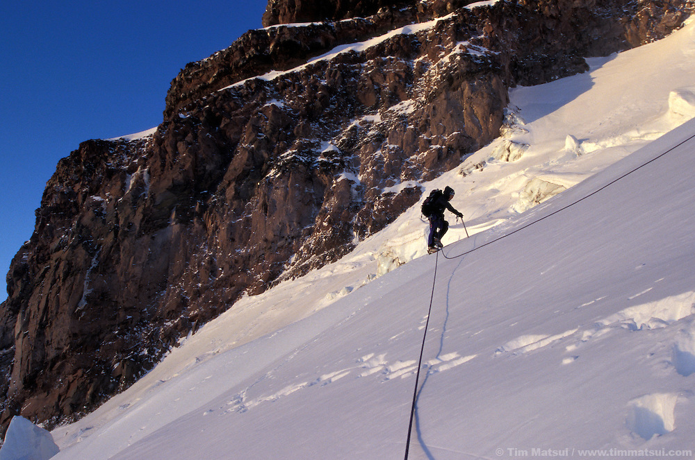 A winter ascent of Mt. Rainier via the Ingraham Glacier Direct.