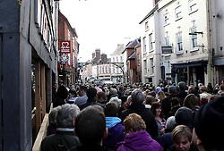 The hug pass under the Green Man and Black Head Royal Hotel arch - Mandatory byline: Robbie Stephenson/JMP - 09/02/2016 - FOOTBALL -  - Ashbourne, England - Up'Ards v Down'Ards - Royal Shrovetide Football