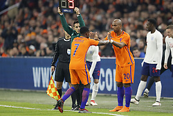 (L-R) Quincy Promes of Holland, Ryan Babel of Holland during the International friendly match match between The Netherlands and England at the Amsterdam Arena on March 23, 2018 in Amsterdam, The Netherlands