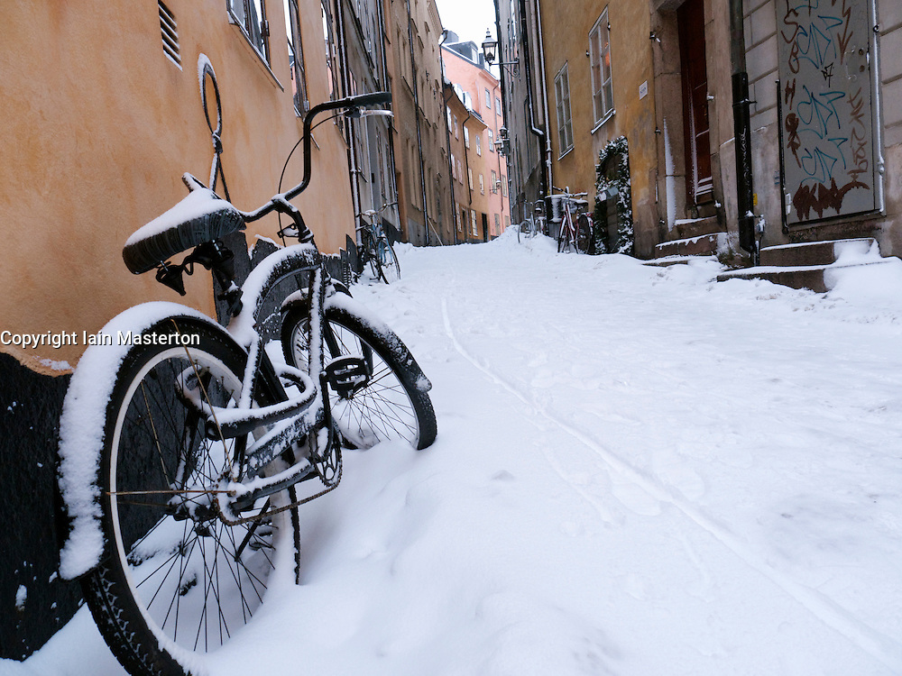 Gamla Stan old town district in winter in Stockholm Sweden