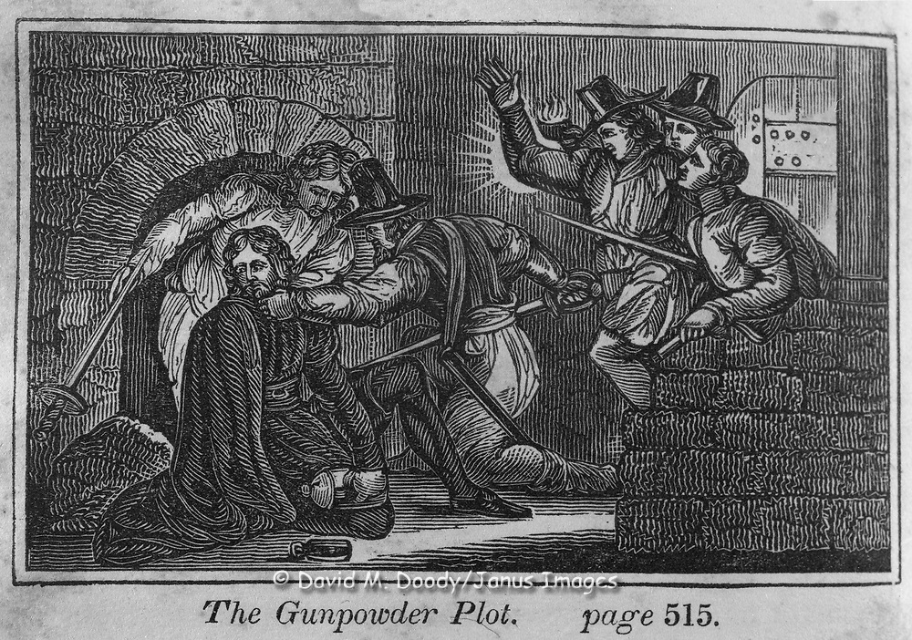 """The Gunpowder Plot"" in England. The Gunpowder Plot of 1605, in earlier centuries often called the Gunpowder Treason Plot, was a failed assassination attempt against King James I of England and VI of Scotland by a group of provincial English Catholics led by Sir Robert Catesby. Protestant vs Catholic violence. Vintage Woodcut Illustration from: ""Book of Martyrs"" Tortures carried out in the name of religion."
