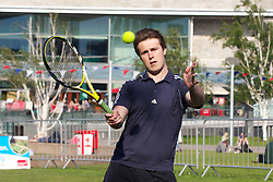 LIVERPOOL, ENGLAND - Monday, June 10, 2013: A corporate tennis tournament at Chavasse Park in Liverpool ONE ahead of the Liverpool Hope University International Tennis Tournament. (Pic by David Rawcliffe/Propaganda)