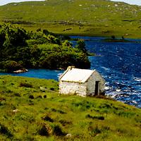 Galway, Ireland, cottage, water, lake, sun, green, blue, water, mountains, cloud, summer