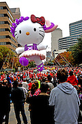 Hello Kitty Balloon at the 20th Annual Chuy's Children Giving to Children Parade, Austin, Texas, November 29, 2008. Chuy's is a Tex Mex restaurant in Austin.  The Children Giving to Children Parade features gifts given by the viewers to Operation Blue Santa.