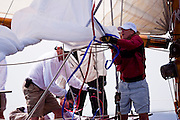 Gleam, 12 Metre Class, sailing in the Museum of Yachting Classic Yacht Regatta, race one.