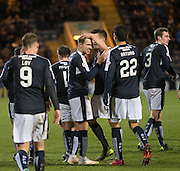 Dundee&rsquo;s Thomas Konrad congraulates Greg Stewart after the fifth - Dundee v Dumbarton, William Hill Scottish Cup Fifth Round at Dens Park<br /> <br />  - &copy; David Young - www.davidyoungphoto.co.uk - email: davidyoungphoto@gmail.com