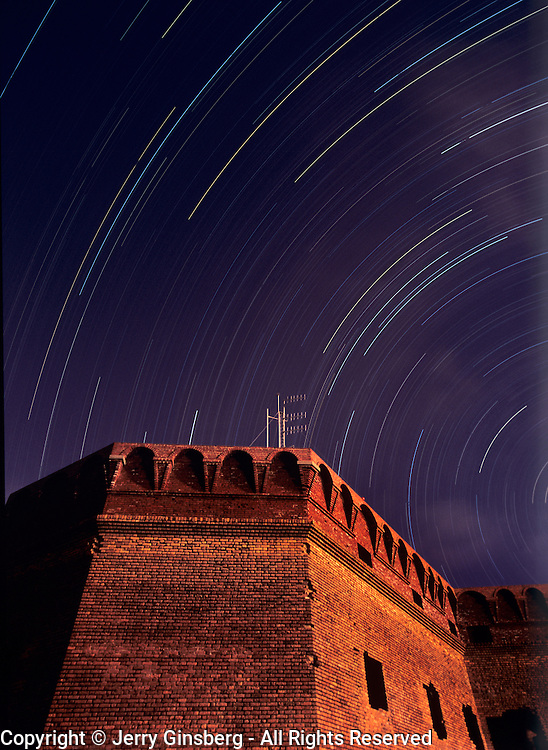 Night sky over Ft. Jefferson on Garden Key in Dry Tortugas National Park, FL.