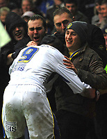 Photo: Paul Greenwood/Sportsbeat Images.<br />Leeds United v Huddersfield Town. Coca Cola League 1. 08/12/2007.<br />Leeds United's Jermaine Beckford celebrates scoring with the Leeds fans
