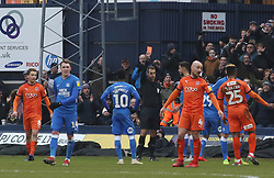 Ryan Tafazolli of Peterborough United is shown a straight red card - Mandatory by-line: Joe Dent/JMP - 19/01/2019 - FOOTBALL - Kenilworth Road - Luton, England - Luton Town v Peterborough United - Sky Bet League One