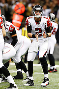 NEW ORLEANS, LA - NOVEMBER 11:  Matt Ryan #2 of the Atlanta Falcons signals a play to the receivers during a game against the New Orleans Saints at Mercedes-Benz Superdome on November 11, 2012 in New Orleans, Louisiana.  The Saints defeated the Falcons 31-27.  (Photo by Wesley Hitt/Getty Images) *** Local Caption *** Matt Ryan