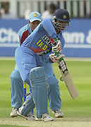 .24/06/2002.Sport - Cricket - .One day game 50 overs - Kent CC vs India.St Lawrence Ground - Canterbury.Sourav Ganguly plays and misses