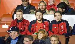 NOTTINGHAM, ENGLAND - Thursday, February 4, 2016: Liverpool's unused players look on from the Director's Box before the FA Youth Cup 5th Round match against Nottingham Forest at the City Ground. (Pic by David Rawcliffe/Propaganda)