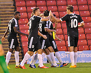 Picture by Richard Land/Focus Images Ltd +44 7713 507003<br /> 27/08/2013<br /> Southampton players celebrate Steven Davis putting them 1-0 up during the Capital One Cup match at Oakwell, Barnsley.