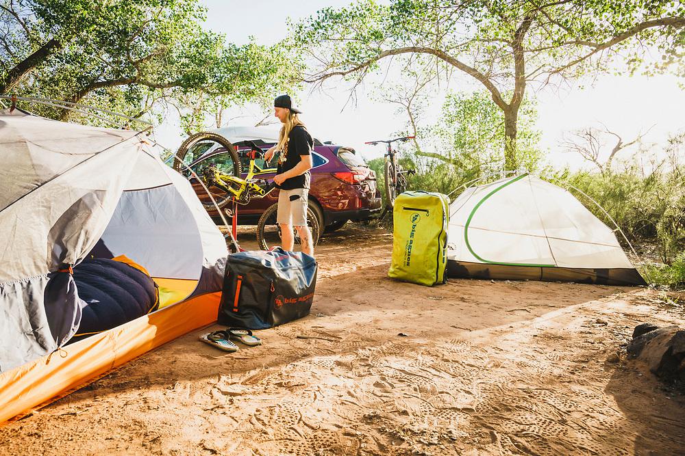 Virgin camp, Jeremy Hottinger wrenching in the desert, Utah.