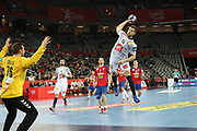 Vladimir Cupara (Serbie) and Kentin Mahe (France) during the EHF 2018 Men's European Championship, 2nd Round, Handball match between Serbia and France on January 22, 2018 at the Arena in Zagreb, Croatia - Photo Laurent Lairys / ProSportsImages / DPPI
