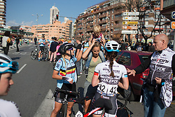 The youngest fan joins the riders after Stage 4 of the Setmana Cicilsta Valenciana - a 118 km road race, starting and finishing in Benidorm on February 25, 2018, in Alicante, Spain. (Photo by Balint Hamvas/Velofocus.com)