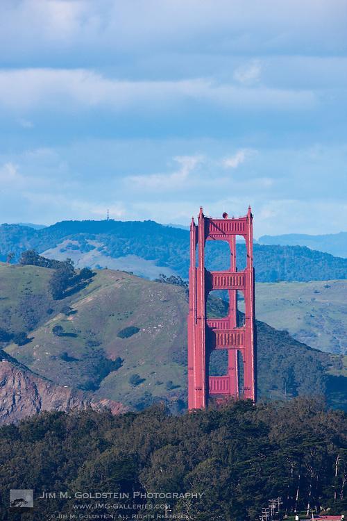 The Golden Gate Bridge and Marin Headlands as seen above Golden Gate Park - San Francsico, California
