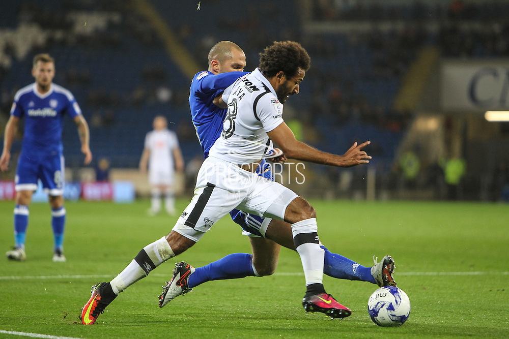 Ikechi Anya of Derby County and Matthew Connolly of Cardiff City during the EFL Sky Bet Championship match between Cardiff City and Derby County at the Cardiff City Stadium, Cardiff, Wales on 27 September 2016. Photo by Andrew Lewis.