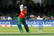 Soumya Sarkar of Bangladesh hits the ball to the boundary for four runs during the ICC Cricket World Cup 2019 match between Pakistan and Bangladesh at Lord's Cricket Ground, St John's Wood, United Kingdom on 5 July 2019.