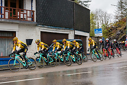 Peloton with riders of Team Jumbo-Visma (NED,WT,Bianchi) at La Roche-en-Ardennes during the 2019 Li&egrave;ge-Bastogne-Li&egrave;ge (1.UWT) with 256 km racing from Li&egrave;ge to Li&egrave;ge, Belgium. 28th April 2019. Picture: Pim Nijland | Peloton Photos<br /> <br /> All photos usage must carry mandatory copyright credit (Peloton Photos | Pim Nijland)
