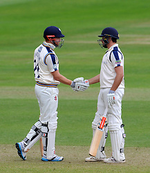 Yorkshire's Jack Leaning celebrates his half century. Photo mandatory by-line: Harry Trump/JMP - Mobile: 07966 386802 - 24/05/15 - SPORT - CRICKET - LVCC County Championship - Division 1 - Day 1- Somerset v Sussex Sharks - The County Ground, Taunton, England.