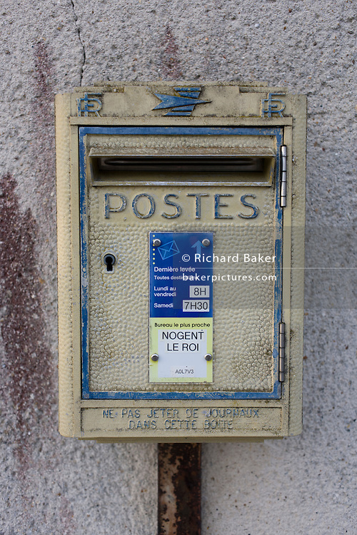 Postal box in rural village of Neron, Eure-et-Loir, France.