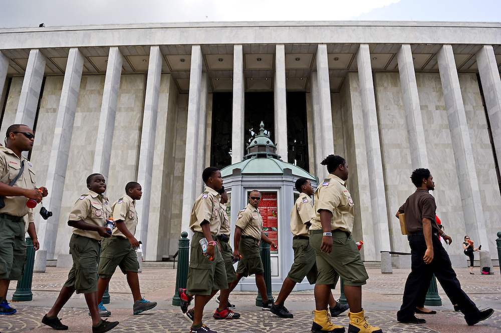 Boy Scout Troop 772 scoutmasters Rusty Hines (center) and Dorian Jackson (far left) walk with their scouts past the James Madison Memorial Building en route to the Capitol in Washington, D.C. on July 22, 2014. The seven Dan McCarty Middle School scouts selected for the trip flew out of Fort Lauderdale-Hollywood International Airport that morning, toured the Capitol and spent time with Rep. Patrick Murphy on their first day of the trip. (XAVIER MASCARENAS/TREASURE COAST NEWSPAPERS)