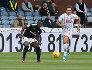 August 5th 2017, Dens Park, Dundee, Scotland; Scottish Premiership; Dundee versus Ross County; Dundee's Roarie Deacona nd Ross County's Christopher Routis