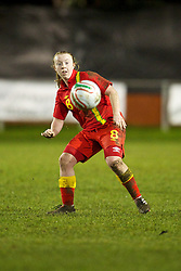 NEWTOWN, WALES - Friday, February 1, 2013: Wales' Rachel Hignett in action against Norway during the Women's Under-19 International Friendly match at Latham Park. (Pic by David Rawcliffe/Propaganda)