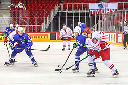 Rok Ticar of Slovenia vs Mateusz Bryk of Poland during Ice Hockey match between National Teams of Slovenia and Poland in Round #2 of 2018 IIHF Ice Hockey World Championship Division I Group A, on April 23, 2018 in Budapest, Hungary. Photo by David Balogh / Sportida