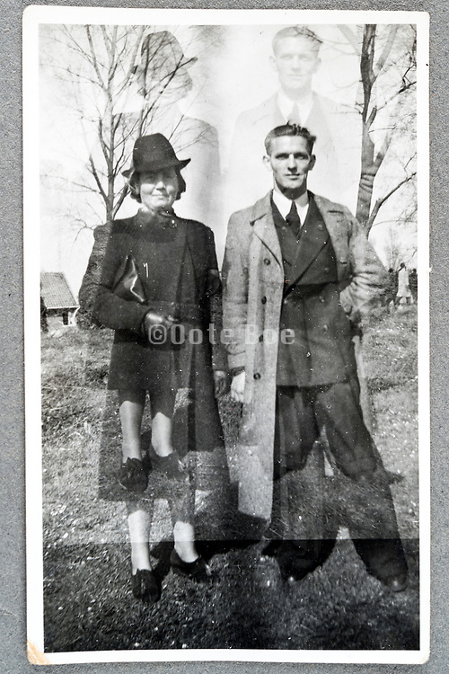 accidental double exposure with couple portrait ca 1950s Holland