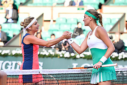 PARIS, June 7, 2017  Timea Bacsinszky (L) of Switzerland shakes hands with Kristina Mladenovic of France after their women's singles quarterfinal at the 2017 French Open Tennis Tournament in Paris, France on June 6, 2017. Timea Bacsinszky won 2-0. (Credit Image: © Chen Yichen/Xinhua via ZUMA Wire)