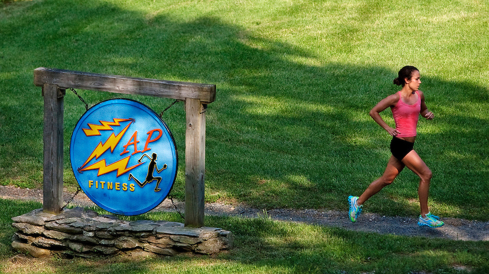 Zap Fitness athlete Alissa McKaig goes through an afternoon run at the training center in Blowing Rock, NC..