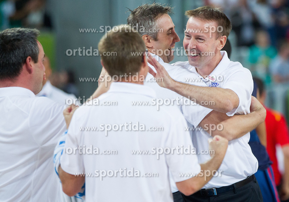 Vincent Collet, head coach of France celebrate after winning at overtime during basketball match between National teams of Spain and France in Semifinals at Day 17 of Eurobasket 2013 on September 20, 2013 in Arena Stozice, Ljubljana, Slovenia. (Photo by Vid Ponikvar / Sportida.com)