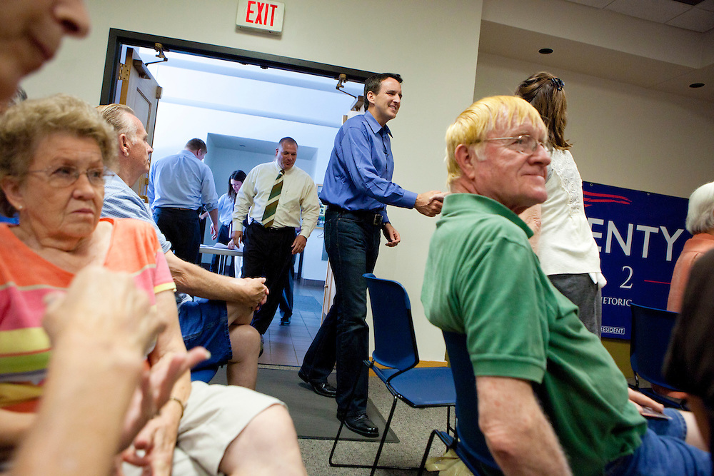 Republican presidential hopeful Tim Pawlenty campaigns on Tuesday, July 26, 2011 in Fairfield, IA.