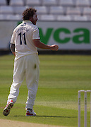 Ryan J Sidebottom (Yorkshire CCC) celebrates after taking the crunch wicket of Mark Stoneman  (Durham County Cricket Club) in the second innings  during the LV County Championship Div 1 match between Durham County Cricket Club and Yorkshire County Cricket Club at the Emirates Durham ICG Ground, Chester-le-Street, United Kingdom on 1 July 2015. Photo by George Ledger.