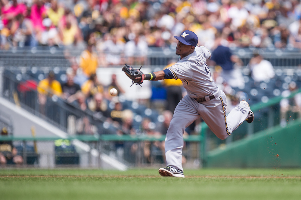 PITTSBURGH, PA - JUNE 08: Jean Segura #9 of the Milwaukee Brewers defends his position during the game against the Pittsburgh Pirates at PNC Park on June 8, 2014 in Pittsburgh, Pennsylvania. (Photo by Rob Tringali) *** Local Caption *** Jean Segura