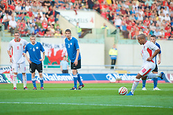 LLANELLI, WALES - Friday, May 29, 2009: Wales' Robert Earnshaw scores the opening goal from the penalty spot against Estonia during the International friendly match at Parc y Scarlets. (Pic by David Rawcliffe/Propaganda)