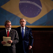President George W. Bush and the President of Brazil Lula hold a joint press availability Friday, March 9, 2007, in Sao Paulo, Brazil.<br /> <br /> Photo by Khue Bui